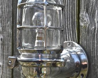 Stylish ocean liner hinged wall light bulkhead passage lamp polished metal ships bulk head OCL1 N