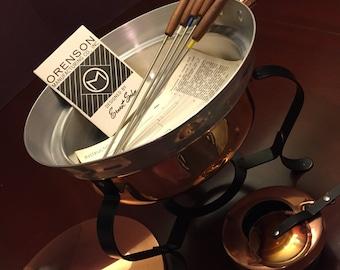 MidCentury Fondue Pot, ERNEST SOHN, Designer Fondue pot, Copper Fondue pot, Vintage Chaffing dish, Gift for her, hostess gift, Fondue Party