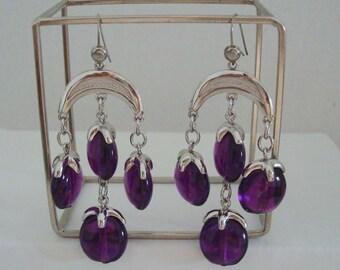 Trifari Waterfall Purple Lucite Drops Silvertone Chandelier Earrings Kidney Wire Pierced Drop Dangle Chandelier Earrings