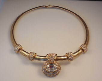 Stunning Vintage Monet Haute Couture Swarovski Crystal Rhinestone Gold Plated Choker Necklace