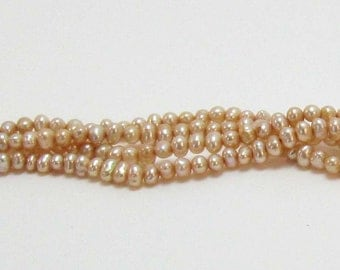 Champagne 4mm Pearls, Potato Shaped Freshwater Cultured Pearl Beads, beautiful luster and shine, small potato pearls, 16 inch strand, #5124