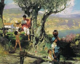 Henryk Siemiradzki: In a Village (Ancient Rome). Fine Art Print/Poster. (002681)