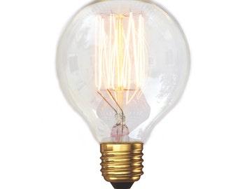 Edison Style Vintage Light Bulb - G80 Small Globe Squirrel Cage Filament Vintage Light Bulb (E27 FITTING)