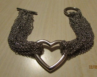 Silvertone Heart Bracelet with 12 Chain Strands and a Toggle Clasp