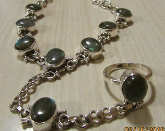 Sterling Silver and Labradorite Slave Bracelet