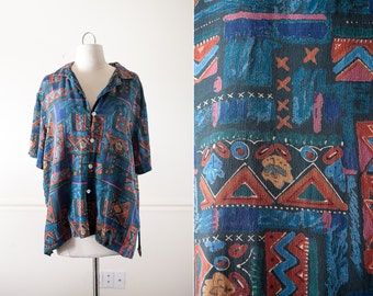 1980s Southwestern Print SILK Blouse / Vintage 80s Blouse / Tribal Print / Native American Inspired / Soft Grunge Top / 90s Oversized Shirt