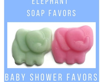 Elephant Soap Party Favors - Jungle Theme Baby Shower Soaps are Custom Made for Baby Shower, First Birthday, Gender Reveal Party Pack of 30
