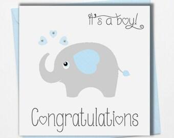 New Baby Boy Card ~ Congratulations baby boy card.