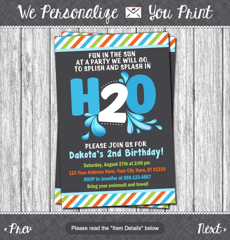 H2O Birthday Invitation H20 Water Party Splish By PuggyPrints