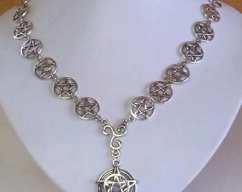 Wiccan altar pentacle necklace pendant star magic protection