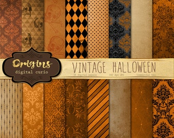 Vintage Halloween Digital Paper Textures - 16 Pack Premium Digital Paper Gothic, Grunge, Orange and Black Damask Pattern scrapbook paper