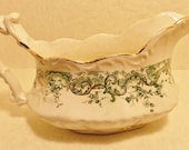 "Vintage Antique Dunn Bennett & Co, Burslem England ""Recherche"" Imperial Semi China Gravy Boat, Green Ivy Pattern, Shabby Chic, Cottage Chic"