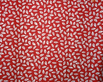 """1 Yard Red & White Micro Leaf Print Cotton Fabric Springs CP42787 - 43"""" wide"""