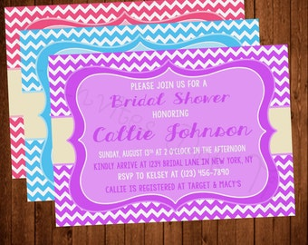 Fun Chevron Bridal Shower Invite (Printable) (Purple, Blue, or Pink Available!)