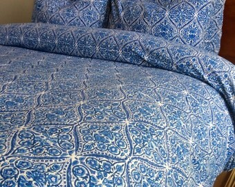 Blue duvet cover queen full duvet/ queen duvet set/comforter covers/ handblock printed/ indian bedding/ duvet cover queen/ teen/ boy bedding