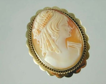 Beautiful Vintage 9ct Gold Cameo Brooch Circa 1960s 13.2 Grams Cae