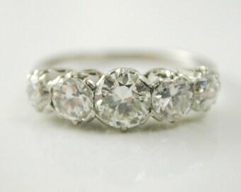 Diamond five stone ring Art Deco platinum 1.22 carats colour F size K 1/2 C.1920