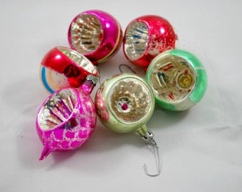 Christmas Ornaments Mix Colors , Indented Mercury Glass Balls , 1950 Christmas Tree