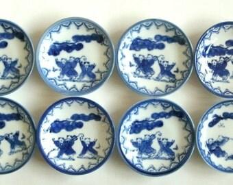 Soy Sauce Dishes Sushi Plates Japanese Porcelain Set of 8 Vintage Japanese Culture Japanese Art Asian Art Wasabi Blue White