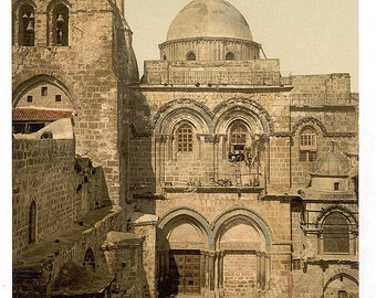 The front of the Holy Sepulchre, Jerusalem, Holy Land] 1890. Vintage photo postcard reprint 8x10-up.