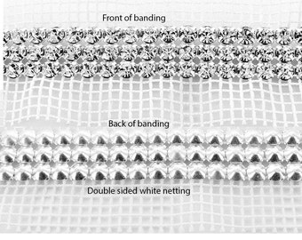 Rhinestone banding 3 row set with SS19 (4.4mm) pointed back stones set into silver settings with white netting.