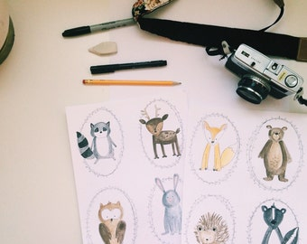 Woodland critters printable download