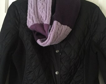Purple CASHMERE and wool INFINITY scarf