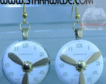 STARR WILDE STEAMPUNK Earrings Pierced Glow in the Dark Caravelle Clock Watch Face Dial Gold Brass Kinetic Propellers That Can Really Spin