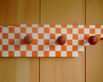 Checkerboard Tennessee Shaped Hat or Coat Rack