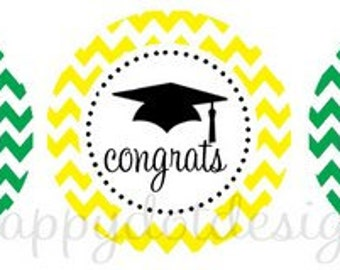Printable Chevron Graduation Cupcake Toppers Class of 2016 Party Circles