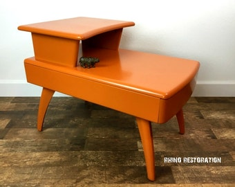 SOLD   Orange Mid Century Modern End Table With Drawer   Heywood Wakefield    Side Table