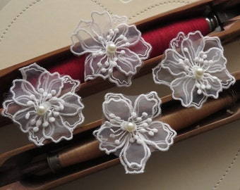 4 pcs of 3D bridal embroidery lace applique motif, with pearl, off white