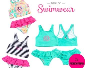 NEW Little Girls Monogram Bathing Suit