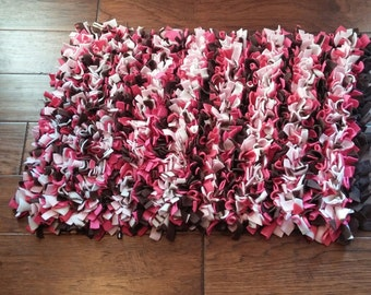 Shaggy Rectangle Rag Rug in Pinks and Browns 28 x 19 inches Ready to Ship for a Girl's room or Baby Nursery
