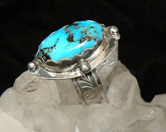 High Grade Candelaria Turquoise and Sterling Silver Ring, Size 10 US, 11 carat