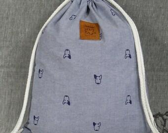 Dog drawstring bag  Cotton  Backpack Hip bag Laptop bag Handmade bag