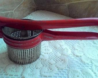 Vintage Metal Red Handle Potato Ricer Masher Kitchen Utensil