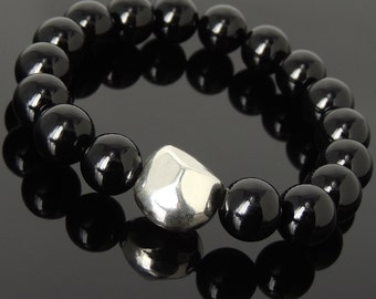 Men Women Bright Black Onyx Bracelet 925 Sterling Silver Irregular Shape Bead DiyNotion Handmade BR984