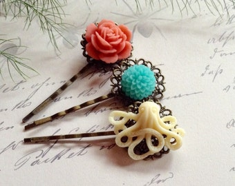 Clips Fresh Squeezed Orange And Aqua Flowers And Ivory Octo Hair Clips