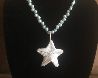 Starfish Beaded Necklace, Seed Bead, Pearl with waves of sea blue