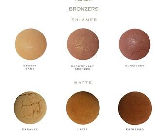 SAMPLE SIZE - Natural Mineral Bronzer - Matte - Shimmer - Beauty Care - Vegan - Gift Idea - Cosmetics - Makeup - Women - Organic