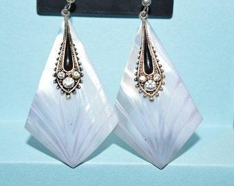 Beautiful Vintage Soft Purple Mother of Pearl, Black Enamel and Rhinestone Oval Earrings (1017136)