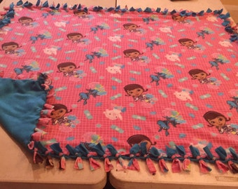 Doc McStuffins double sided, hand tied fleece blanket