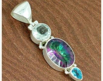 On Sale Green Amethyst, Mystic Midnight Quartz, Blue Topaz 925 Sterling Silver Pendant Jewelry, Green Prasiolite Pendant - Christmas Jewelry