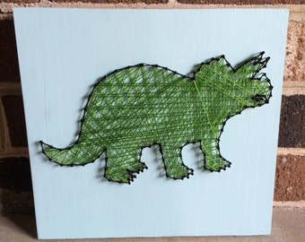 Green and Blue Dinosaur String Art Wood Sign Boy's Room Wall Art Home Decor