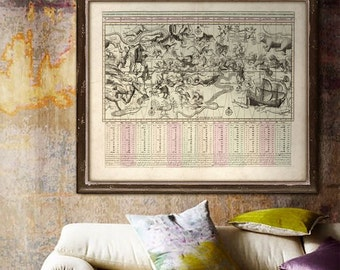 "Astrological signs map 1792, Vintage Zodiac print in 4 sizes up to 45x36"" (110x90 cm) Star constellations - Limited Edition of 100"