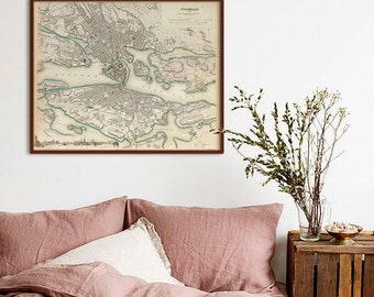 """Map of Stockholm 1838, Old Stockholm Map, Blue or Sepia, 3 sizes up to 30x24"""" (75x60 cm) Stockholm Sweden map - Limited Edition of 100"""