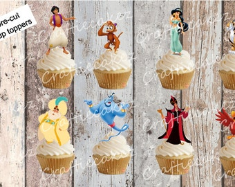 24 x Pre cut Edible Stand Up Aladdin Cupcake Toppers
