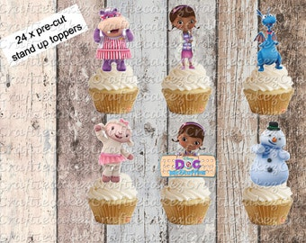 24 x Pre Cut Edible Doc Mcstuffin Stand Up Cupcake Toppers