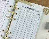 Personal Inventory printed planner insert - stock - shop inventory - checklist - inventory organizer - tracker - supply chart - #232